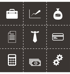 Black business icon set vector