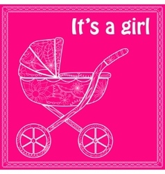 Its a girl card with baby carriage vector