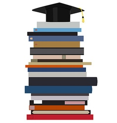 Graduation cap on book stack vector