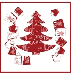 Fir-tree with purchases christmas sale vector