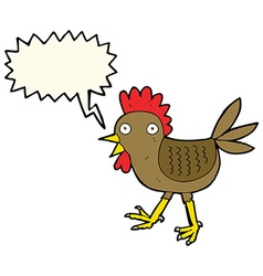 Funny cartoon chicken with speech bubble vector