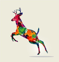 Jumping deer with colorful paint texture vector
