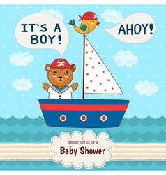 Cute baby shower invitation card it s a boy vector