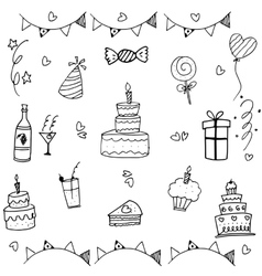 Doodle art birthday party vector