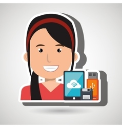Woman with smartphone and storage devices vector