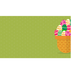 Background of easter egg in basket vector