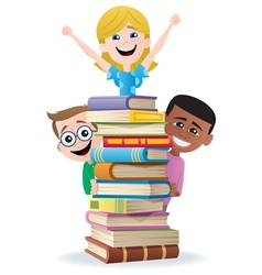 Books and kids vector