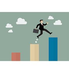Businessman jumping up to a higher bar chart vector