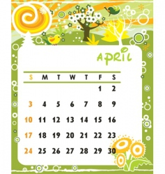 calendar april vector image vector image