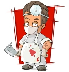 Cartoon evil surgeon in white mask vector