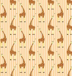 Cartoon giraffes on stripes pattern vector