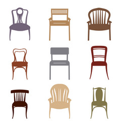 chair armchair icons set furniture retro style vector image vector image