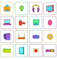 Computer icons set pop-art style vector