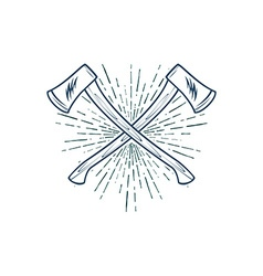 Crossed axes with sunburst t-shirt print vector