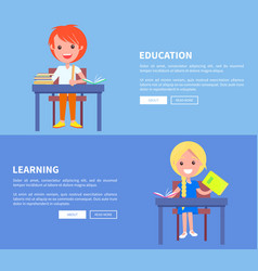 education learning set of poster with boy and girl vector image vector image