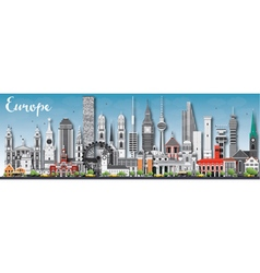 Europe skyline silhouette with different landmarks vector