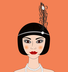 flapper girl retro 20s-30s style portrait vector image vector image