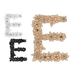 Floral letter e with vintage elements vector