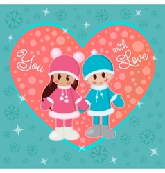 Girl and boy holding hands in winter clothes vector image