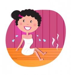 happy woman in infrared sauna vector image vector image