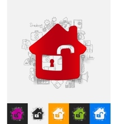 House paper sticker with hand drawn elements vector