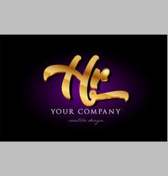 Hr h r 3d gold golden alphabet letter metal logo vector