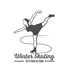 ice skating label logo design elements vector image