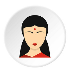 Indian girl icon circle vector