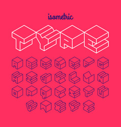 Isometric 3d outline font three-dimensional vector