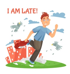 Late Teenager Running To School vector image