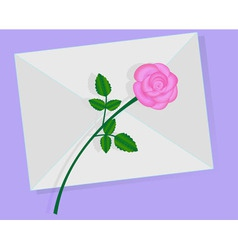 Love letter with pink rose over it vector image vector image