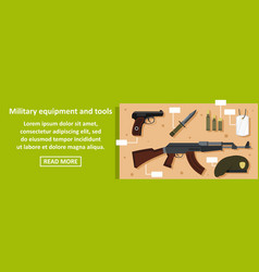 Military equipment and tools banner horizontal vector