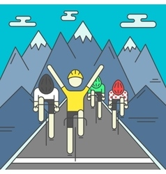 Modern of cyclists on finish line vector