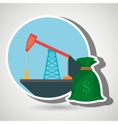 Oil drilling money isolated icon design vector