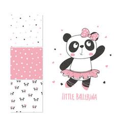 Panda ballerina surface design and 3 seamless vector