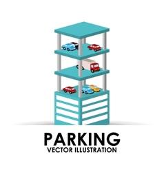Parking building design vector