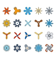 Propeller and paddle flat icons vector