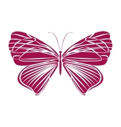 Red silhouette butterfly vector image
