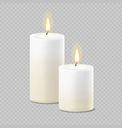 Set of realistic white candles with fire vector