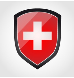 Shield with flag inside - Swiss - vector image vector image
