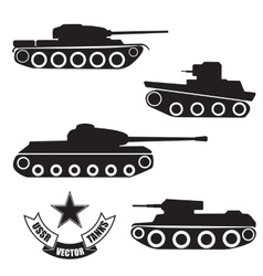 Silhouettes of old soviet tanks vector