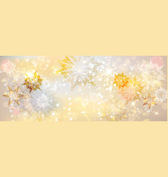 snowflakes gold banner vector image