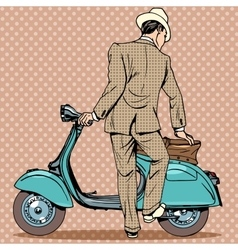 The man gets a scooter vector image vector image
