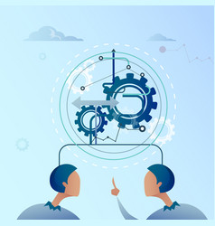 Two business man point finger on cog wheel vector
