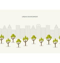 Urban park city landscape seamless border vector