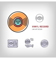 Vinyl record isolated line art icon modern vector