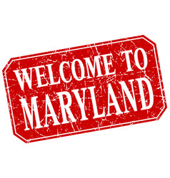 Welcome to maryland red square grunge stamp vector