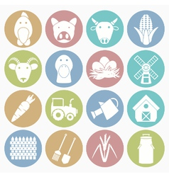 white icons farm vector image