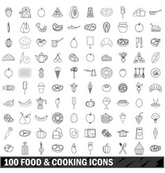 100 food and cooking icons set outline style vector