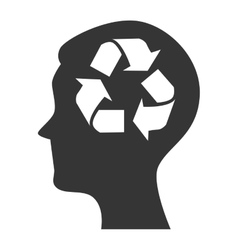 Silhouette head icon recycle environment isolated vector